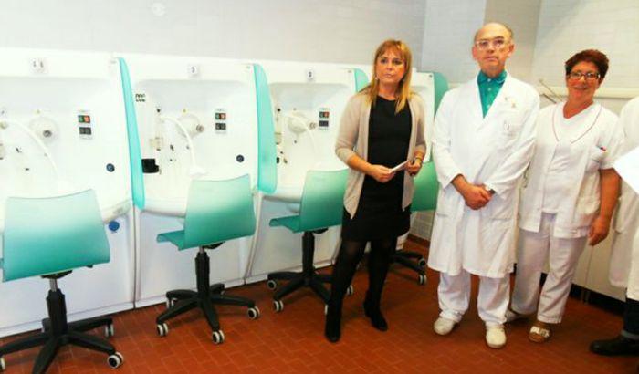 Mariani, Magnani e Chiappani presso i locali di Terapia Inalatoria