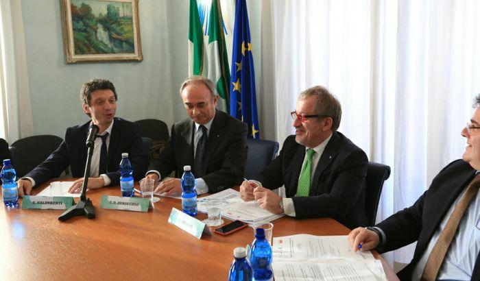 Navigabilità del Po e Tencara - Convegno in Camera di Commercio con Roberto Maroni - Umberto Cabini