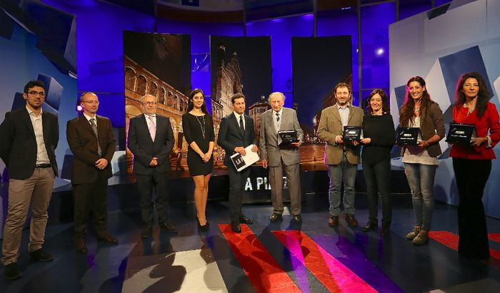 Cremonesi dell'anno 2015 - La cerimonia di premiazione: da sinistra, Gilardi, Rossi, Loffi, Murri, Coppetti, Giordano, Cavalli, Tirozzi e Cortellini