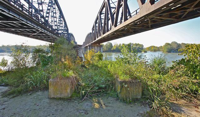 Degrado ed erbacce sotto il ponte in ferro fra Cremona e Castelvetro