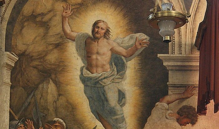 Un dettaglio della Resurrezione di Bernardino Gatti