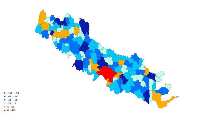 Il dettaglio per Cremona, ma riferita alla variazione della popolazione in valore assoluto, dal 2015 al 2018. I comuni in blu perdono popolazione.