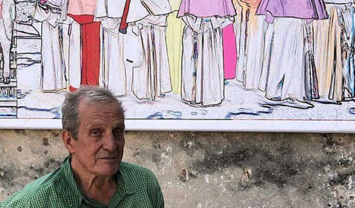 Luigi Cazzaniga e un dettaglio della sua opera