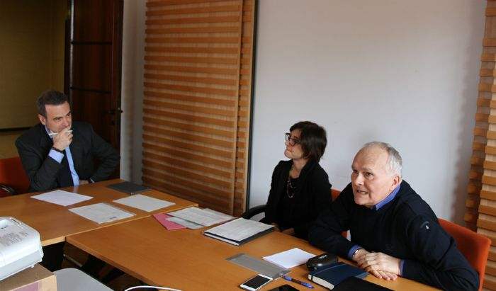 Dario Rech con Simonetta Donsante, incaricata del Settore Lavoro e Formazione della Provincia e l'addetto stampa Massimo Lo Re di Anpal Servizi.