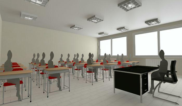 Renderizzazioni dell'aula con i distanziamenti scuola coronavirus